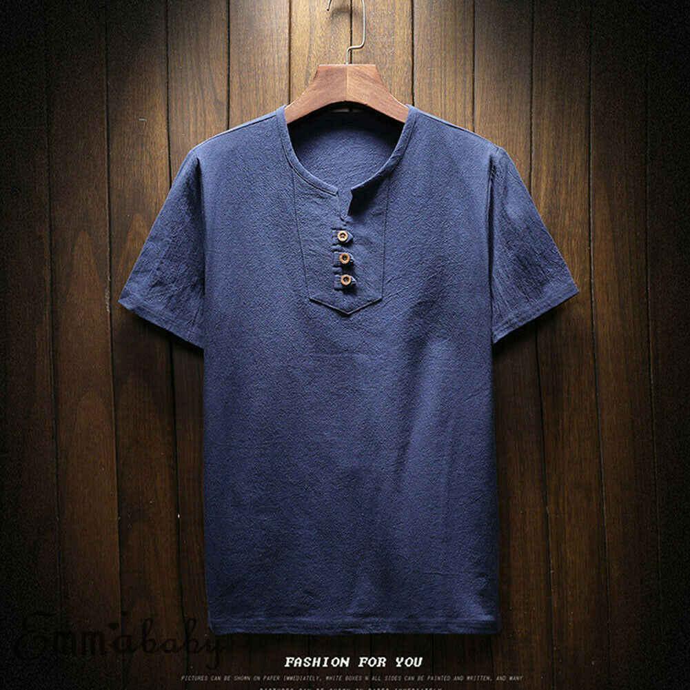 2019 最新のファッション服スーツ多くの機会男性固体カジュアルリネン通気性生地襟シャツ半袖シャツ