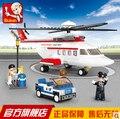 Sluban 259pcs M38-B0363 Private helicopter Air bus Plane aviation Transport aircraft vehicle Building Blocks kids toy brain game