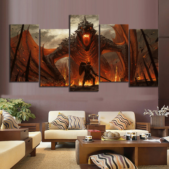 5 Piece Fantasy Art Painting Game of Thrones Movie Poster Artwork Canvas Paintings Dragon Picture Oil Painting Wall Art Painting