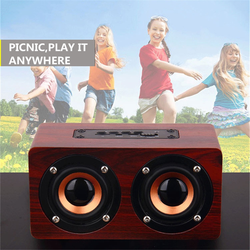 HOT-Retro Wooden Bluetooth Speaker HIFI Wireless Dual Loudspeakers 3D Surround Speaker 5