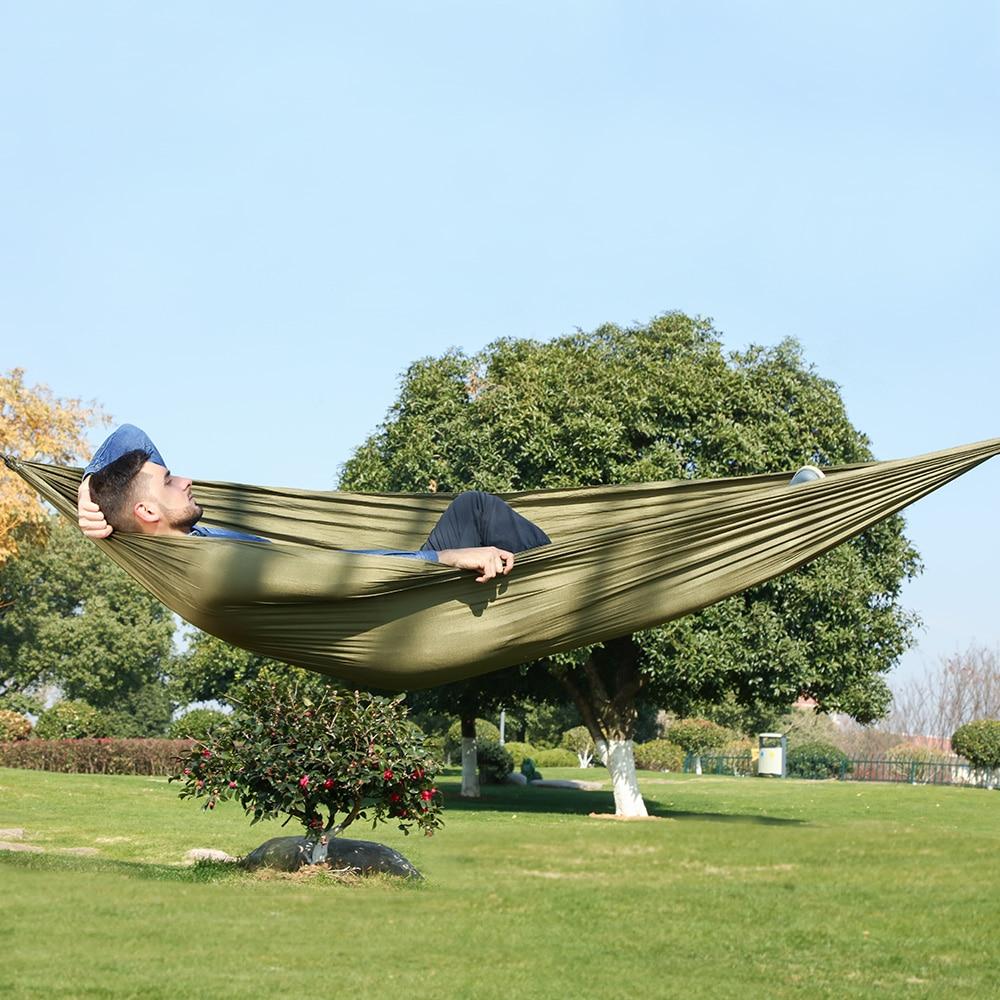 Portable Nylon Cloth Multifunction Camping Hammock Double Outdoor Hamac Sleeping Hamak Garden Hamaca With Carabiner And Ropes