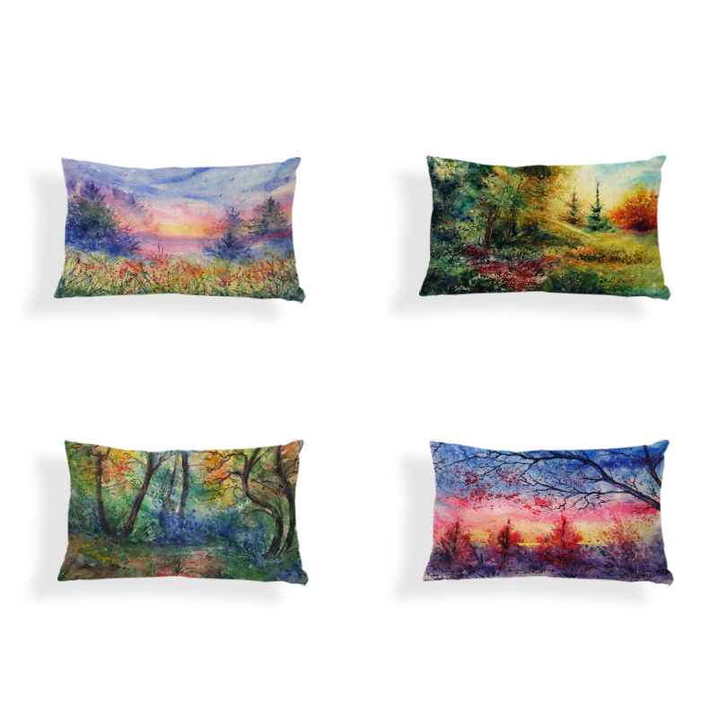 Dropshipping Cushion Cover Beautiful Watercolor Painting 30*50CM Square Decorate Home Office Couch Forest View Throw Pillow Case