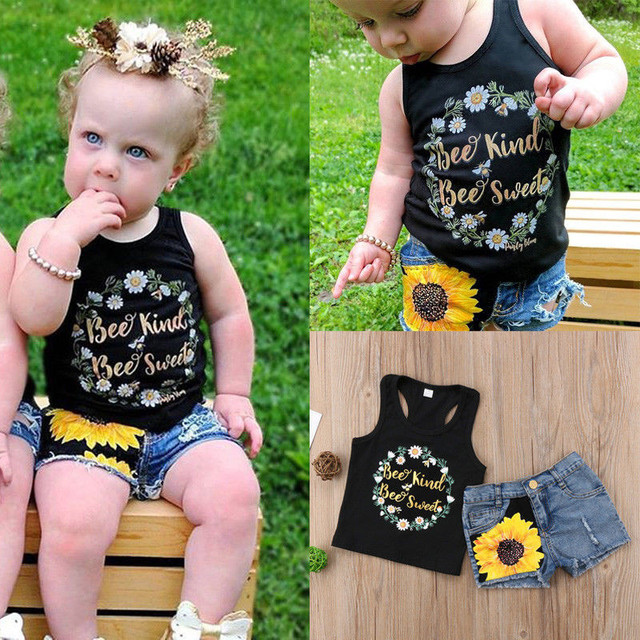 Niños Niñas ropa de bebé sin mangas Impresión de letras tops de cuello redondo bolsillo de tela vaquera botón de la flor pantalones cortos 2pc de algodón de traje de niño