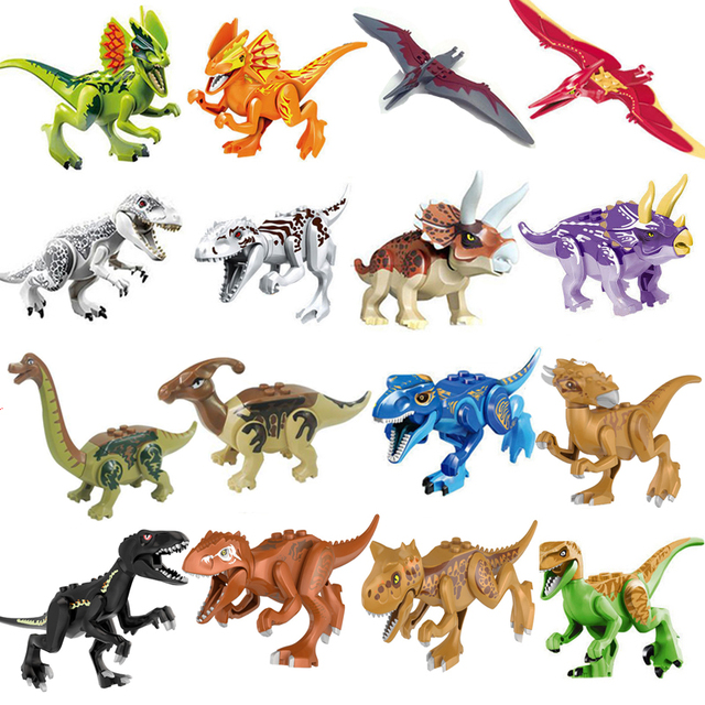 1 pcs Jurassic World 2 Building Blocks Bricks Compatible legoingly Dinosaurs Dinosaurs My Animal Figures Toys For Children Gift