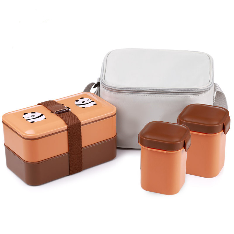 Portable Japanese student bento box double layer separate lunch tableware microwave plastic dinnerware 20