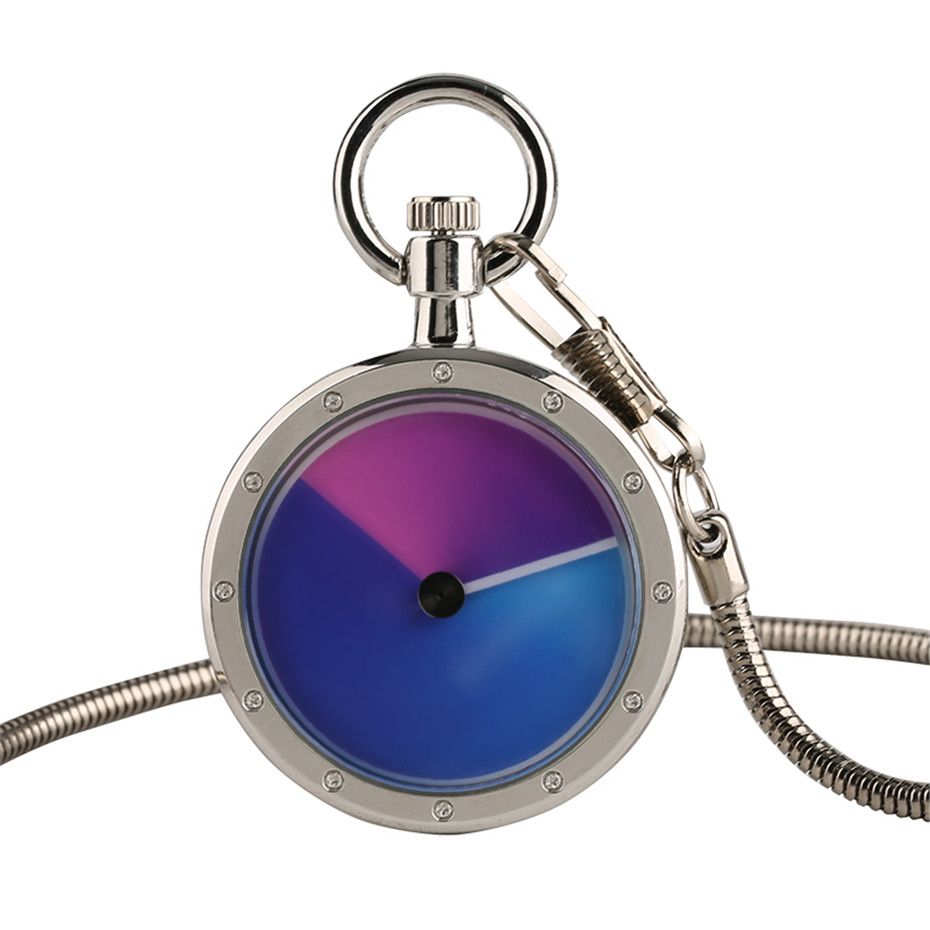 Fashion Simple White Quartz Pocket Watch For Men Women Blue And Purple Dial Snake Chain Clock For Unique Gifts