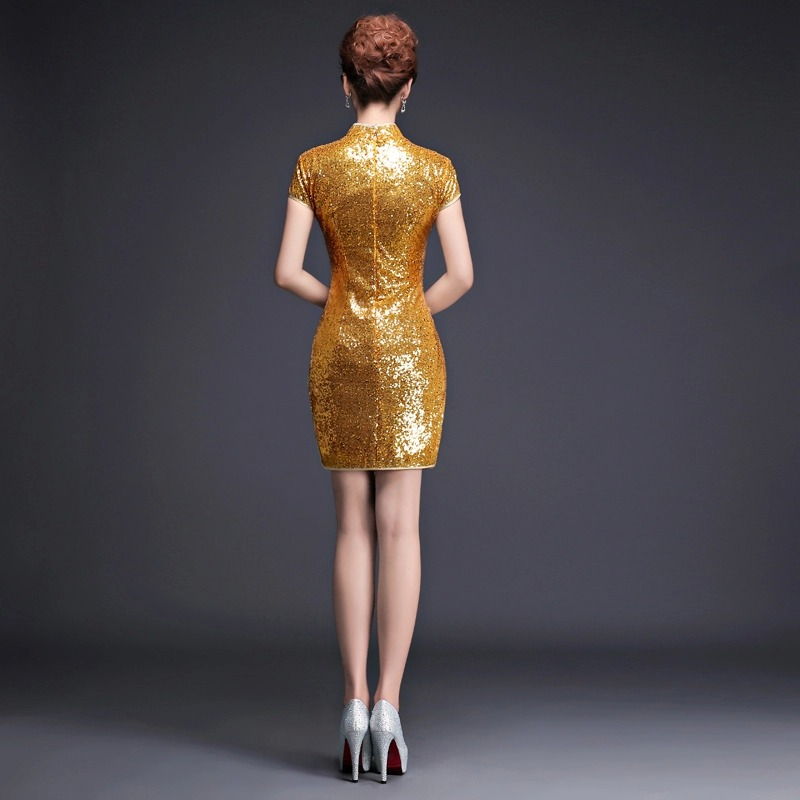 wanita pendek emas sequin formal dinner party cinese cheongsam - Pakaian kebangsaan - Foto 2