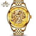 Дракон Коллекция золотые часы мужчины скелет Из Нержавеющей стали Автоматические механические Сапфир водонепроницаемые часы relogio masculino