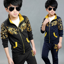 2016 Korean Style New Spring Autumn Outwear Children Coat+pants Baby Boys Leisure Suit Oriental Dragon Print Of Boy JJ0013