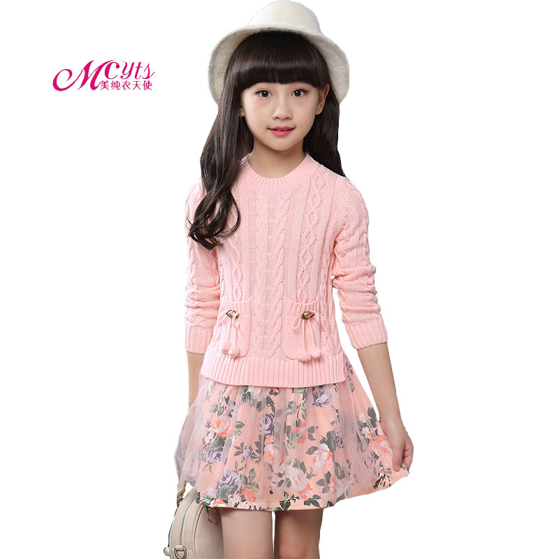 Girls Autumn Winter Long Sleeve Fake Two Knit Floral Dress Children Clothing New Fashion Kids Sweater Dress 4 6 8 10 12 Years bell sleeve rib knit dress