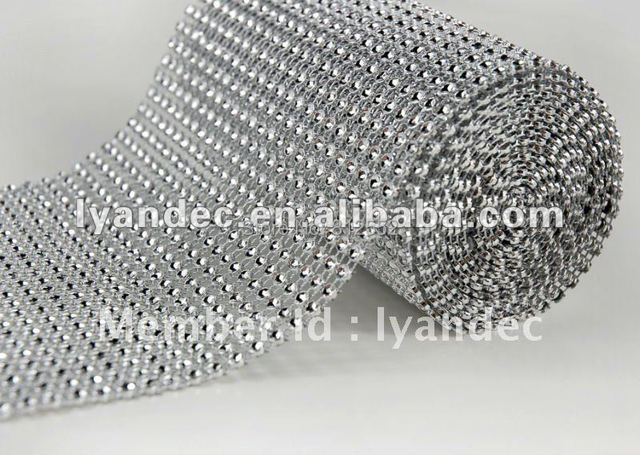 24rows X 10yards Sparkle Silver Rhinestone Wrap For Party Home Decoration Bling Home