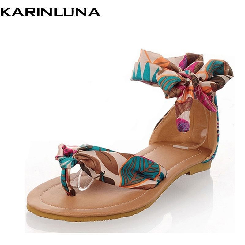 2018 Women Sandals Flower Print Air Mesh Ribbon Summer Shoes Woman Flat Footwear Ankle Strap Bohemia Sandals Big Size 34-43