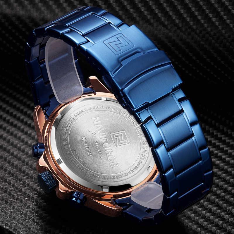 NAVIFORCE – montre à Quartz pour hommes, chronographe, Sport décontracté, mode luxe, Rose or bleu, étanche