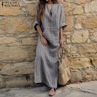 ZANZEA Women Vintage Striped Maxi Long Dress 2018 Autumn Casual Loose Sexy V Neck Full Sleeve