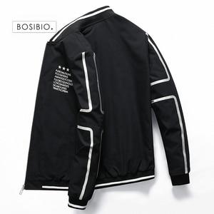 Image 4 - BOSIBIO 2019 весенне летний жакет Для мужчин куртка со стоячим воротником Модная тонкая молния пальто мужской тонкий печати бейсбольные куртки бомберы M 4XL LH 5