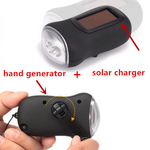 2017 NEW HOT SALE Portable LED Hand Crank Dynamo Solar Power Flashlight Torch Outdoor Camping Mountaineering