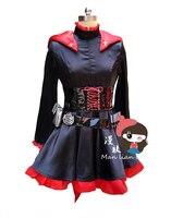 2016 Ruby Rose Cosplay rwby rojo manto vestido traje de batalla