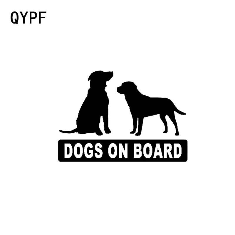 QYPF 13CM*9.1CM DOGS ON BOARD Vinyl Decal Car Sticker Black Sliver C14-0208
