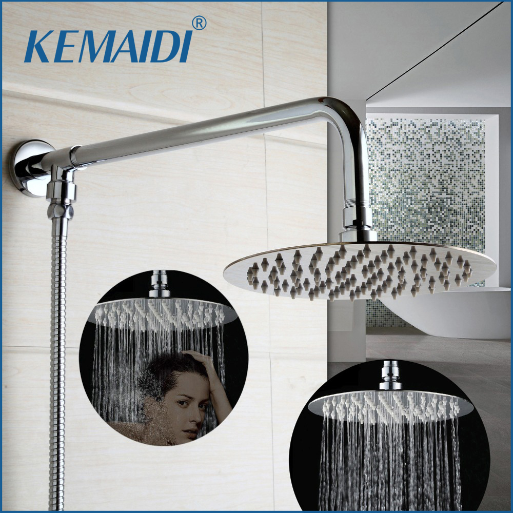 KEMAIDI Good Quality Bathroom Shower Set Wall Mounted Round Chrome Rainfall Shower Head Brass Round Top Shower Arm good quality wall mounted square style brass waterfall shower set new bathroom shower with handle rainfall shower head