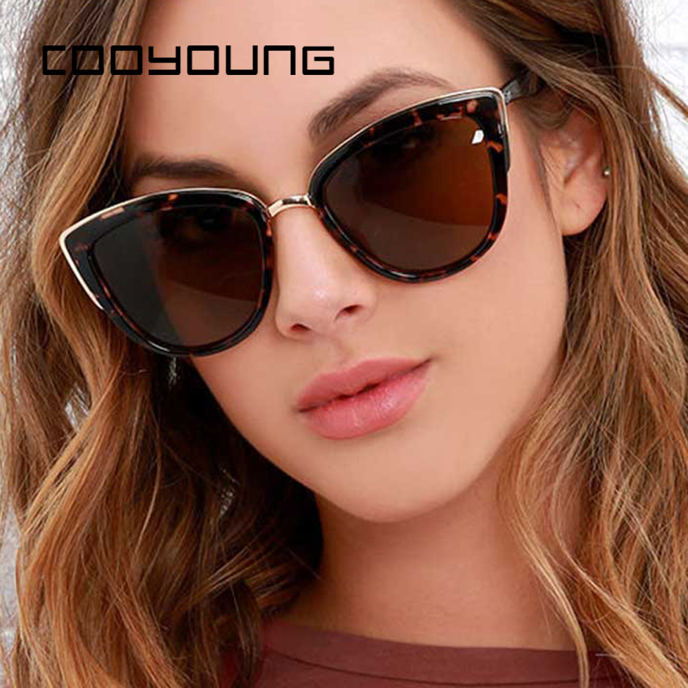 COOYOUNG Cateye Sunglasses Women Luxury Brand Designer Vintage Gradient Glasses Retro Cat Eye Sun Glasses Female Eyewear UV400