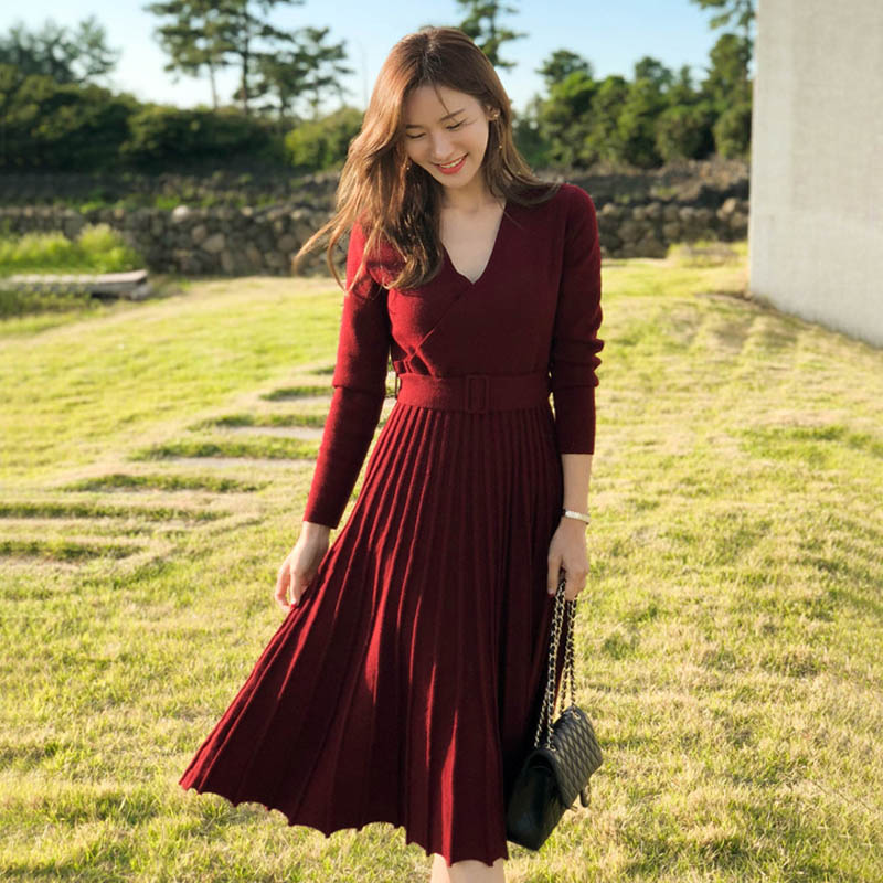 NORMOV New Fashion Women Knitted Pleated Dress Fall Winter Long Sleeve Thick Sweater Solid Sexy V Neck Sashes 4 Color Dress