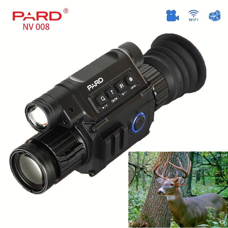 Chasse PARD NV008 monoculaire numérique Vision nocturne 200 M portée lunette de visée tactique intégré IR illuminateur rouge Laser vue vidéo