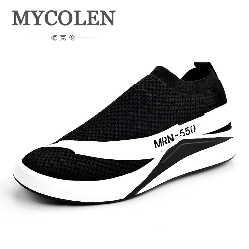 MYCOLEN 2018 NEW Fashion Men Casual Tennis Shoes Breathable Trend Knitted Flats Shoes Light Personality Men Shoes Sapato 2017 new spring imported leather men s shoes white eather shoes breathable sneaker fashion men casual shoes