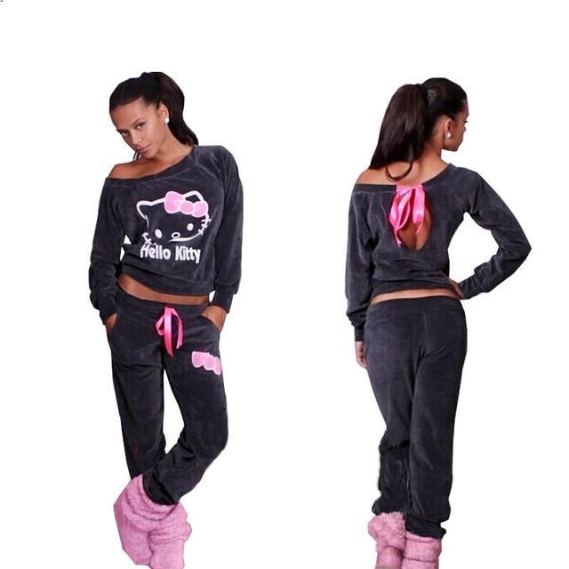Mulheres Olá Kitty Impresso Camisolas De Veludo 2 pçs/sets JY.2015New Hoodies Treino Pulôver Camisola e Calças Plus Size XXL