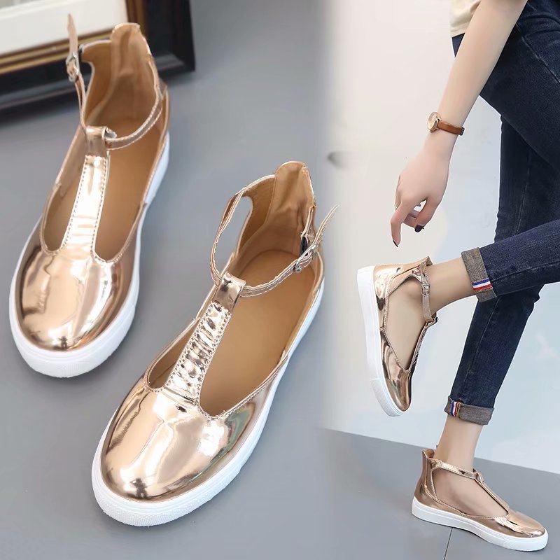 Women Sandals Casual-Shoes Ladies Footwear Closed-Toe Gold Summer T-Strap Flat Feminina
