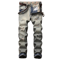 Jeans For Men Super Stretch Male Pant Nostalgic Holes Designer Brand Men Jeans Skinny Fit Style