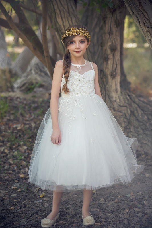 2016 New Flower Girls Dresses For Wedding Gowns White Girl Birthday Party Dress A-Line Kids Prom Dresses