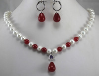 designed 8mm nice white shell pearl dotted with red jade necklace and earrings jewelry sets for lady