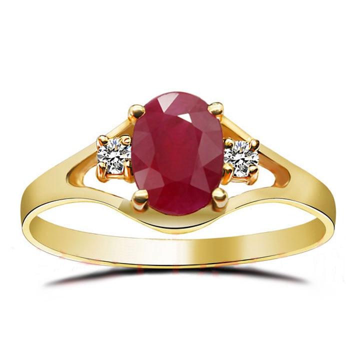 18K Rose Gold Ring Natural Ruby Gems Precious Stone Real