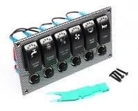 Personalizado DIY Barco Iate 6 GANG WAY 3PIN ON/OFF Rocker Switch painel Verde & Azul Levou À Prova D' Água para Trcuk Carro Ônibus Com circuitos
