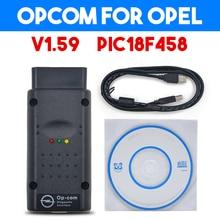 OP COM OPCOM OPEL V1.59 with PIC18F458 OP-COM obd2 opel scanner Micro chip diagnostic v2012 car scanner OBD2 scanner for Opel