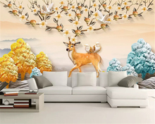 beibehang Custom fashion classic papel de parede wallpaper Nordic hand-painted flowers environmentally friendly elk background