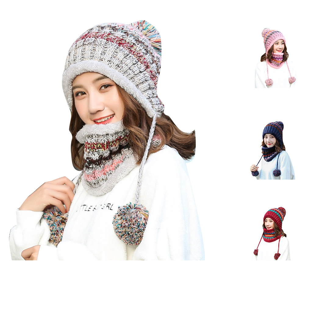 Winter Women Hat Bib Set Adults Outdoors Cycling Running Warm Ball Beanies Scarf