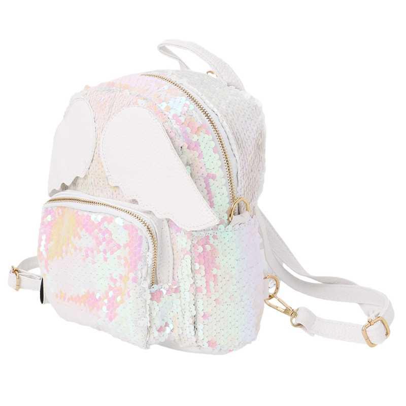 Женский Блестящий рюкзак с блестками для девочек, школьный рюкзак на плечо с крыльями ангела