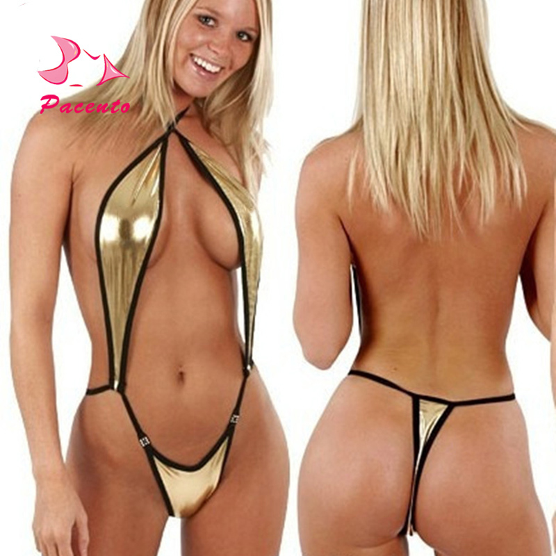 Pacento One-piece Suits Sexy Solid Swimsuits Gold Sexy Halter Monokini Swimwear Female Micro Thong Bathing Swiming Suits Women micro one piece swimsuit solid black golden mini bathing suit women 2016 women s swimsuits micro one piece bathing suits