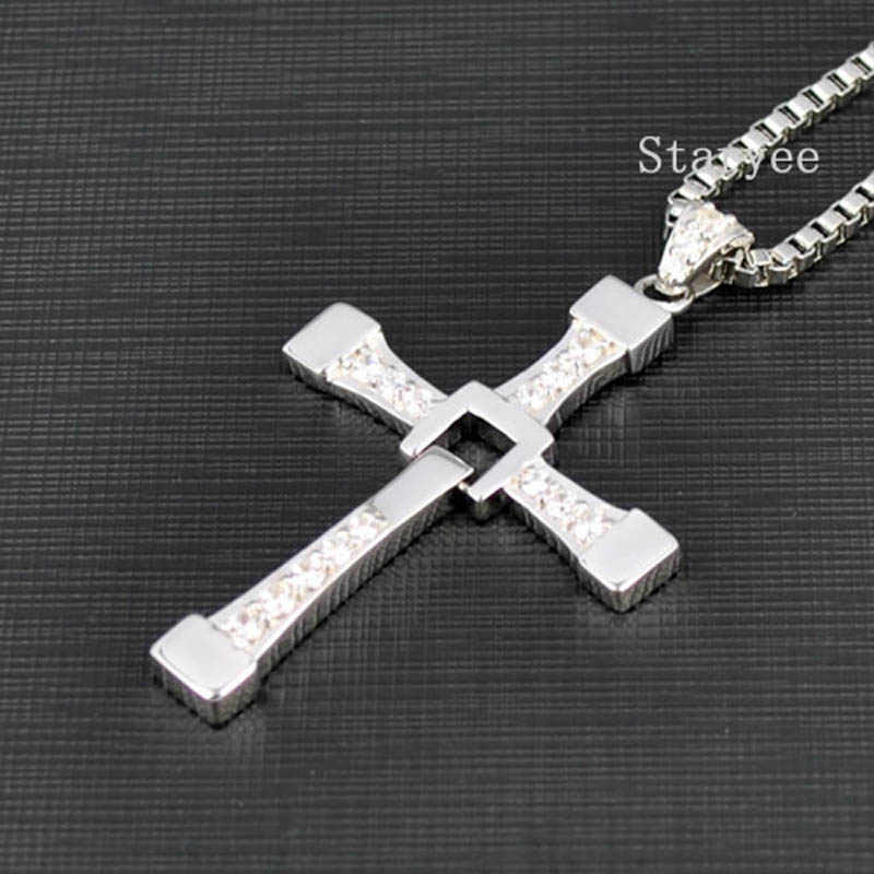 Real 925 Sterling Silver Jewelry Fast And Furious 8 Dominic Toretto Vin Diesel Men Women Cross Pendant Necklace Free Engraving