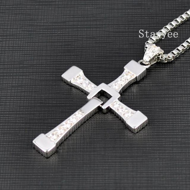 3c842e35f0b2 Real 925 Sterling Silver Jewelry Fast And Furious 8 Dominic Toretto Vin  Diesel Men Women Cross Pendant Necklace Free Engraving