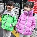 5 цветов Новый Осень и Зима Дети Вниз Пальто Девушки Верхняя Одежда для Детей Куртки Теплые Девушки Overercoat мода Хлопок Куртка
