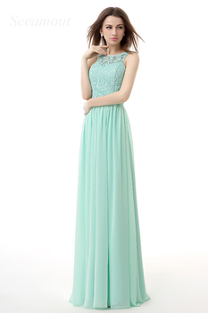 Hot Sale Real Picture Halter Lace Appliques Sash Bead Chiffon A-Line Prom Dress Long Evening Dress Beach Wedding Party Dress