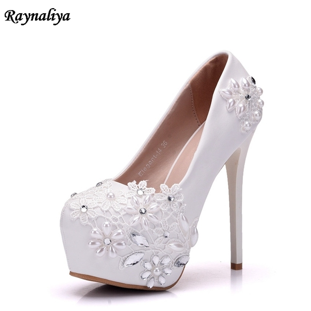 770967c4710 New 14CM High Heels Bridal Wedding Shoes White Rhinestones Lace Beading  Pumps Shoes Spring Summer Bridesmaid Shoes XY-A0000