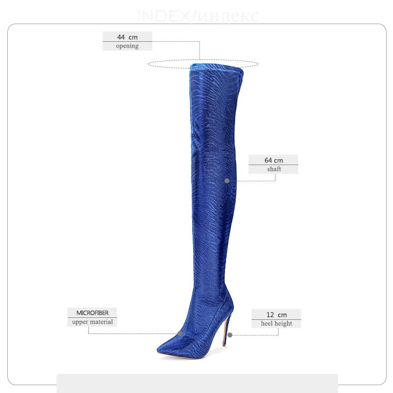 Bout De Le argent Nouveau Genou Démarrage Wetkiss bleu Femmes Femme or Hauts pourpre Chaussures Stretch Mince Sur Hiver 2018 rouge Bottes Talons Noir Partie Pointu qXwqSnO5U