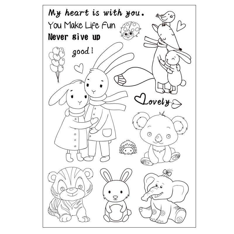 Cartoon Cute Animals Transparent Clear Silicone Stamp/seal for DIY Scrapbooking/photo Album Decorative Clear Stamp Sheets chicken animals transparent clear silicone stamp seal for diy scrapbooking photo album decorative clear stamp sheets a547