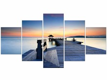 5 Pieces Fashion Modern Home Decoration Painting Dusk Scenery Wall Art The Wooden Bridge In Lake Canvas Printed Framed