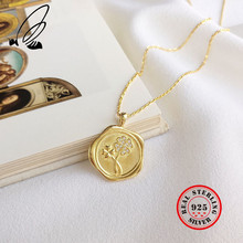 2019 New Lucky Four Leaf Clover Pendant Necklaces For Women 925 Sterling Silver Gold Round Coin Necklace Vintage Jewelry Kolye tongzhe sterling silver 925 necklaces jewelry round cz turkish evil eye necklace women necklace pendant fine jewelry kolye sale