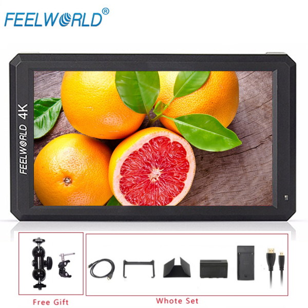 Feelworld F6 5 7 IPS 4K HDMI Monitor for Camera Canon Nikon Sony Gimbal Battery Can