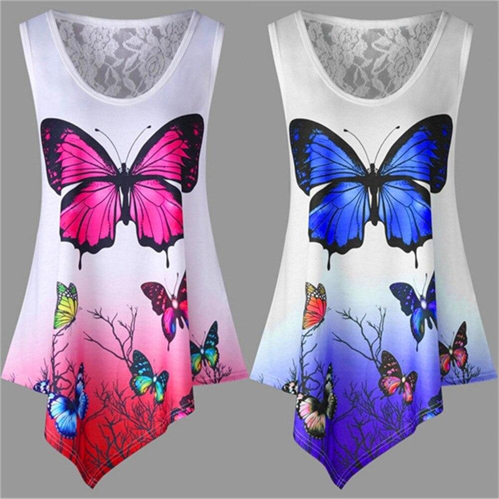 5XL Big Sizes 2019 New Summer Women   T     Shirt   Tops Casual Sleeveless Irregular Butterfly Print   T     Shirt   Loose Plus Size Female Top